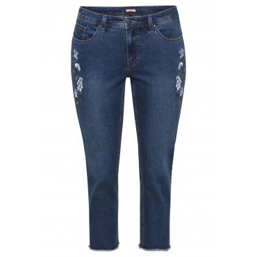 Große Größen: Schmale Stretch-Jeans mit Blumenstickerei, blue Denim, Gr.44-58