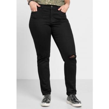 Große Größen: Schmale Stretch-Jeans mit Destroyed-Effekten, black Denim, Gr.40-58