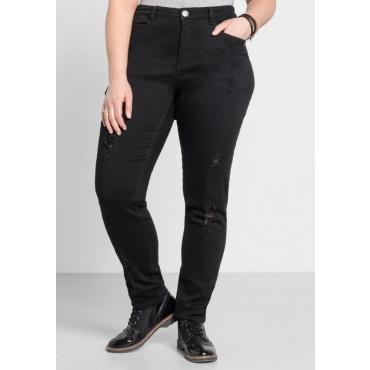Große Größen: Schmale Stretch-Jeans mit Destroyed-Effekten, black Denim, Gr.44-58