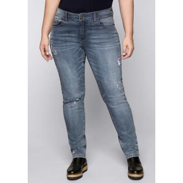 Große Größen: Schmale Stretch-Jeans mit Destroyed-Effekten, blue used Denim, Gr.44-58