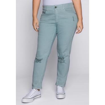 Große Größen: Schmale Stretch-Jeans mit Destroyed-Effekten, eistürkis, Gr.44-58