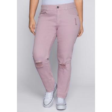 Große Größen: Schmale Stretch-Jeans mit Destroyed-Effekten, hellmauve, Gr.44-58