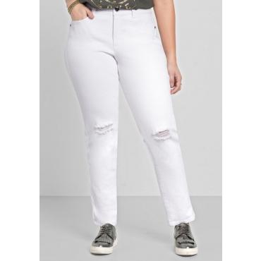 Große Größen: Schmale Stretch-Jeans mit Destroyed-Effekten, white Denim, Gr.40-58