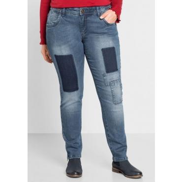 Große Größen: Schmale Stretch-Jeans mit Patches, blue Denim, Gr.44-58