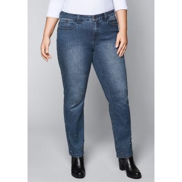 Große Größen: Schmale Stretch-Jeans mit Perlen, blue Denim, Gr.44-58