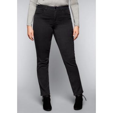 Große Größen: Schmale Stretch-Jeans mit Stickerei, black Denim, Gr.44-58