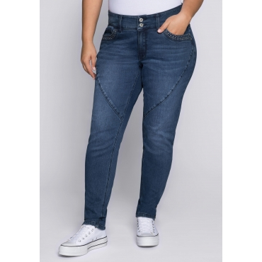 Große Größen: Schmale Stretch-Jeans mit Teilungsnaht, dark blue Denim, Gr.44-58