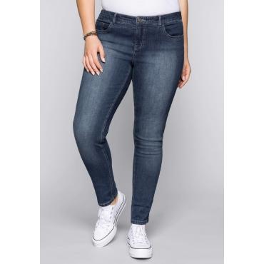 Große Größen: Schmale Stretch-Jeans SUSANNE, dark blue Denim, Gr.44-58