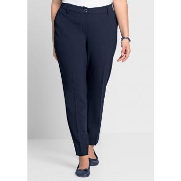 Große Größen: Schmale Stretch-Zigaretten-Hose mit Bügelfalte, dunkelblau, Gr.44-58