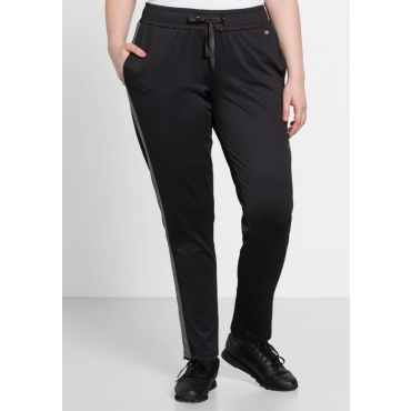 Große Größen: Schmale Sweat-Hose aus Funktionsmaterial, schwarz, Gr.44-58