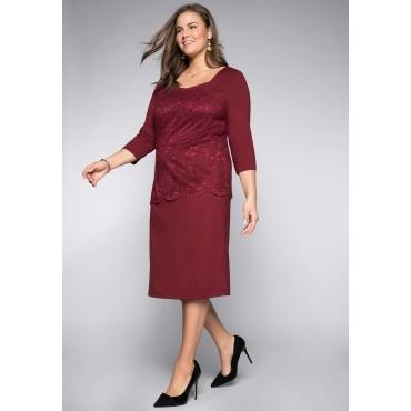 Große Größen: Kleid mit formendem Innenkleid, rubinrot, Gr.44-58