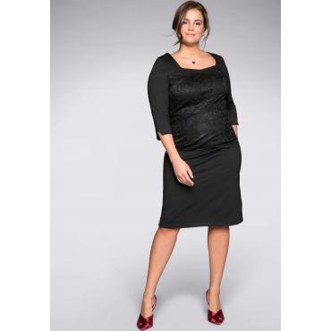 Große Größen: Kleid mit formendem Innenkleid, schwarz, Gr.44-58