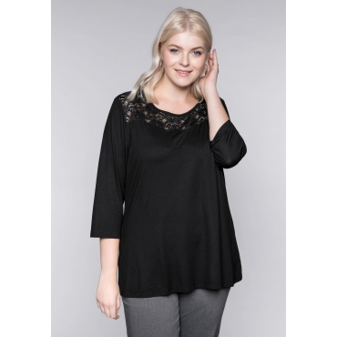 Große Größen: Shape-Shirt mit Spitze, schwarz, Gr.44/46-56/58