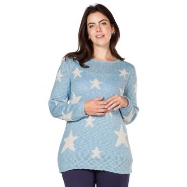 Große Größen: sheego Casual Pullover mit Sternenmotiv, pastellblau, Gr.40/42-56/58