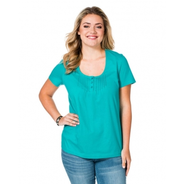 Große Größen: sheego Casual T-Shirt mit Biesen, lagune, Gr.40/42-56/58