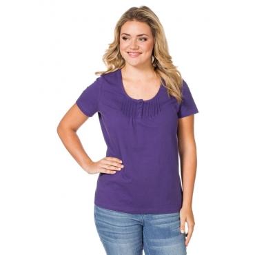 Große Größen: sheego Casual T-Shirt mit Biesen, lila, Gr.40/42-56/58