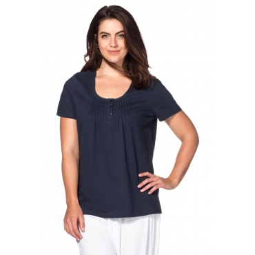 Große Größen: sheego Casual T-Shirt mit Biesen, marine, Gr.40/42-56/58