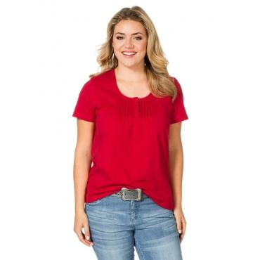 Große Größen: sheego Casual T-Shirt mit Biesen, rot, Gr.40/42-56/58