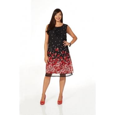 Große Größen: sheego Style Kleid mit Blütendruck, rot-schwarz, Gr.40-58