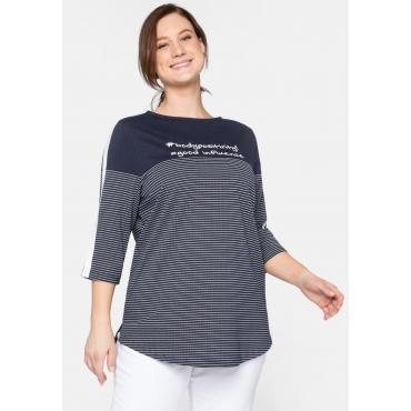 Shirt aus Jersey, in Ringeloptik, mit Frontprint, marine, Gr.44/46-56/58