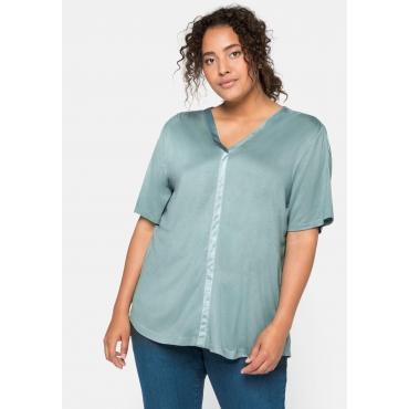 Shirt aus Jersey mit V-Ausschnitt und dekorativer Blende, rauchgrün, Gr.44/46-56/58