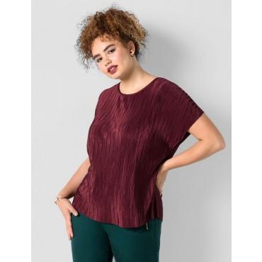 Große Größen: Shirt aus Plissee-Stoff, barolo, Gr.40/42-56/58