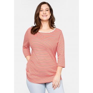 Shirt aus Rippware mit garngefärbten Ringeln, orange, Gr.44/46-56/58