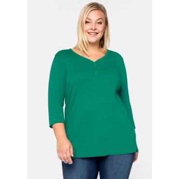 Shirt Basic mit Knopfleiste aus Rippware, grün, Gr.44/46-56/58