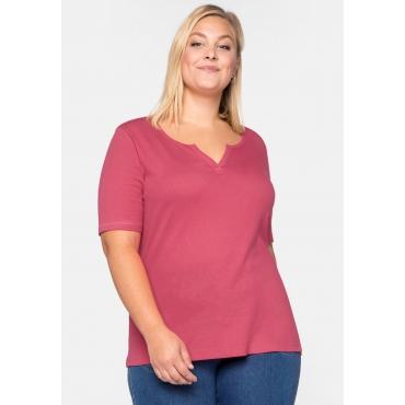 Shirt Basic mit längerem Halbarm aus Rippware, flamingo, Gr.44/46-56/58