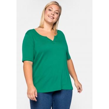 Shirt Basic mit längerem Halbarm aus Rippware, grün, Gr.44/46-56/58