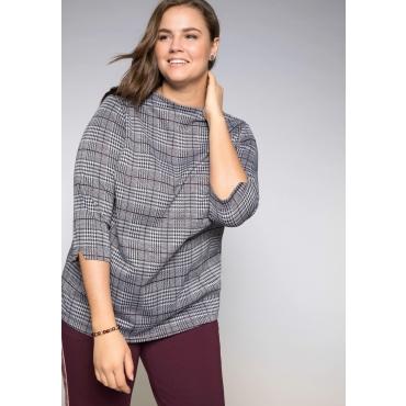 Shirt im Glencheck-Muster mit Stehkragen, schwarz-weiß, Gr.44/46-56/58