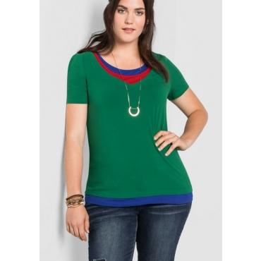 Große Größen: Shirt im Lagen-Look, blattgrün, Gr.40/42-56/58