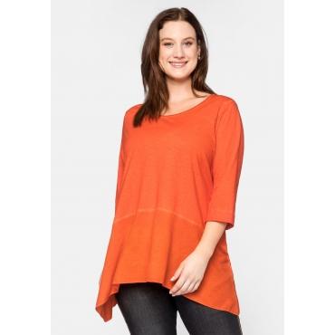 Shirt im Lagenlook mit Zipfelsaum und Glitzer, orange, Gr.44/46-56/58