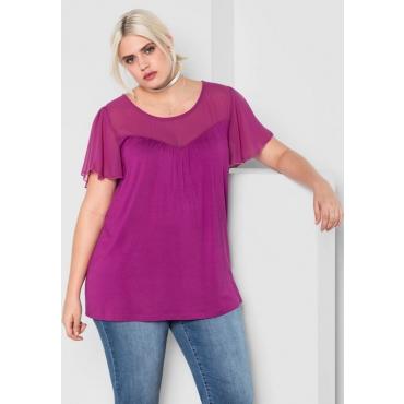 Große Größen: Shirt im Materialmix, dunkelfuchsia, Gr.44/46-56/58