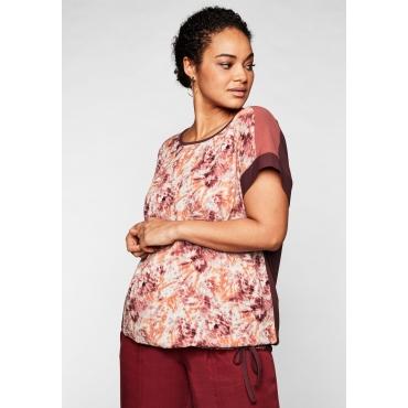 Shirt im Materialmix, mit Batik-Druck vorn, barolo bedruckt, Gr.44/46-56/58