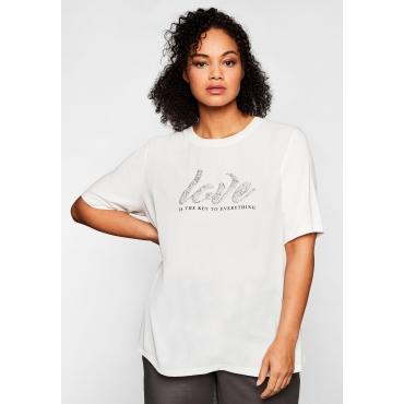 Shirt im Materialmix, mit Statementdruck, weiß, Gr.44/46-56/58