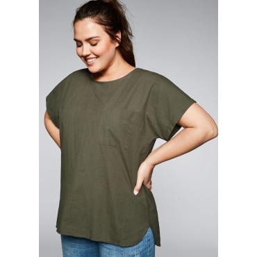 Große Größen: Shirt im Materialmix mit verlängerter Rückenpartie, dunkelkhaki, Gr.44/46-56/58