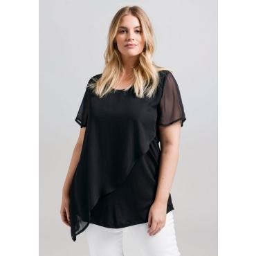 Große Größen: Shirt im Materialmix, schwarz, Gr.44/46-56/58