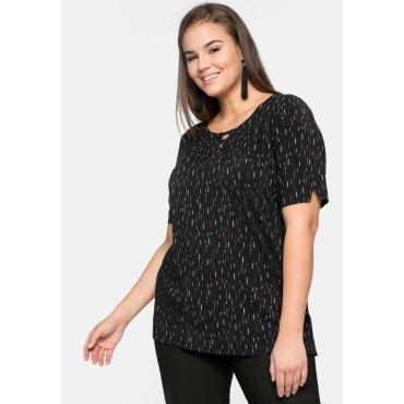 Shirt im Minimalprint mit Cut-outs, schwarz bedruckt, Gr.44/46-56/58