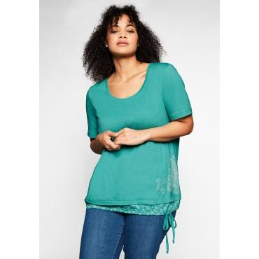 Shirt in 2-in-1-Optik mit Print und Tunnelzug, karibiktürkis, Gr.44/46-56/58