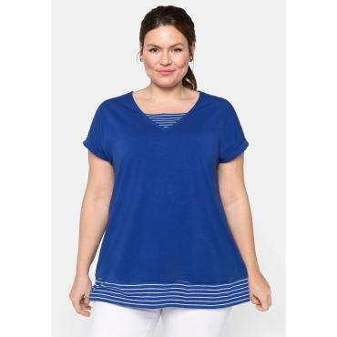 Shirt in 2-in-1-Optik, mit Streifen, royalblau, Gr.44/46-56/58