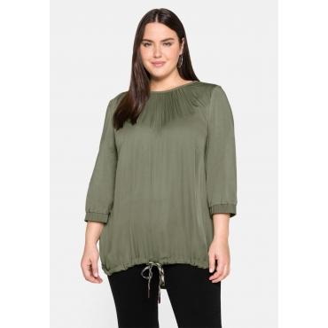 Shirt in A-Linie, mit kontrastfarbenem Bindeband, hellkhaki, Gr.44-58