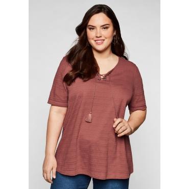 Shirt in Jacquard-Optik, mit Bindeband, marsala, Gr.44/46-56/58
