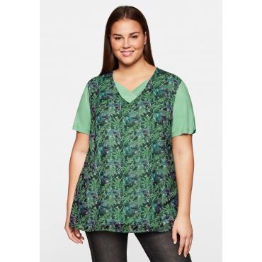 Shirt in Lagenoptik, im Materialmix aus Jersey und Chiffon, mint, Gr.44/46-56/58