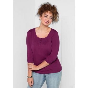 Große Größen: Shirt in leichter A-Linie, beere, Gr.40/42-56/58