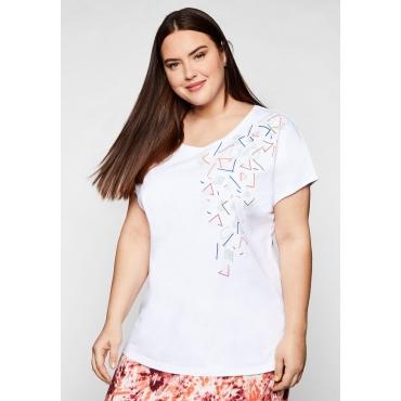 Shirt in leichter Oversized-Form, mit Druck, weiß, Gr.44/46-56/58