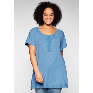 Shirt in leichter Zipfelform, mit Spitzenborte, jeansblau, Gr.44/46-56/58