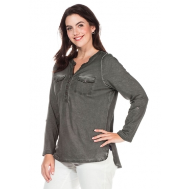 Große Größen: Shirt in modischer Waschung, grau, Gr.40/42-56/58