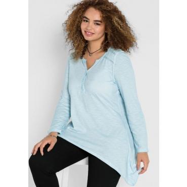 Große Größen: Shirt in Oil-washed-Optik, puderblau, Gr.40/42-56/58
