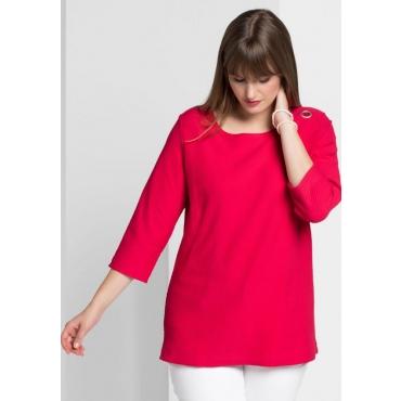 Große Größen: Shirt in Waffelpiqué-Optik, dunkelpink, Gr.40/42-56/58